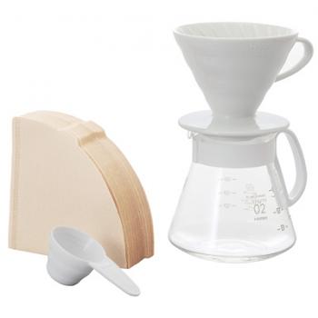 Hario V60 Coffee Dripper White Ceramic 02 Set - XVDD-3012W