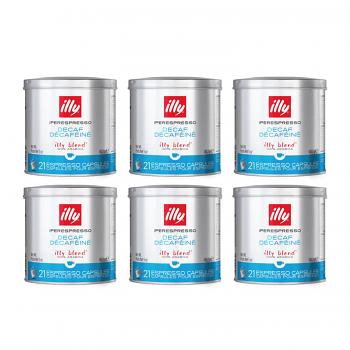 Illy IperEspresso Capsules - 21 Capsules - Decaf Roast - Blue Tin - Case of 6