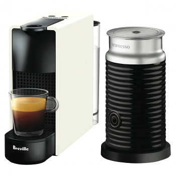 Breville Nespresso Essenza Mini WHITE with Aeroccino Single Serve Espresso Machine BEC250WHT1AUC1