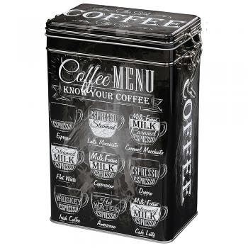Zassenhaus Coffee Storage Tin w/Silicone Seal - Black