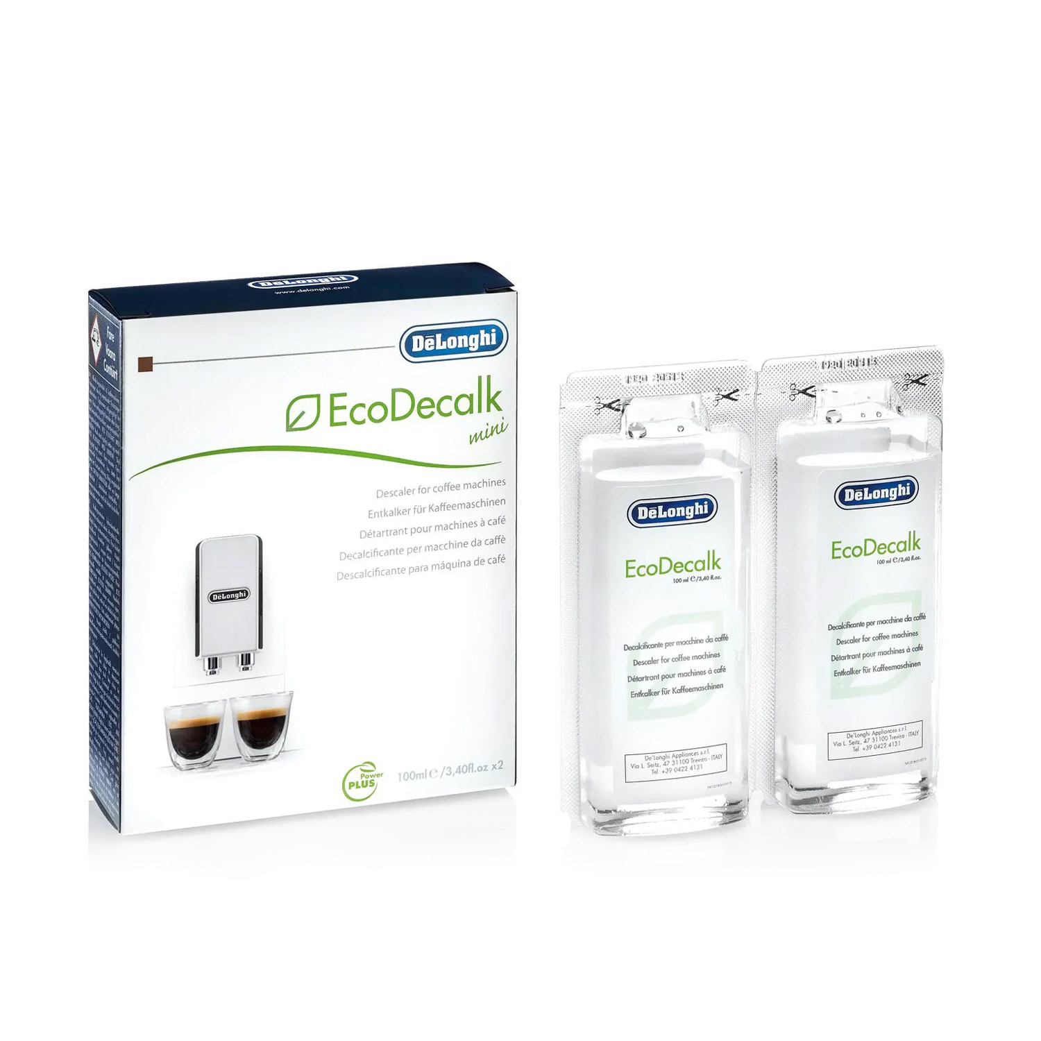 Delonghi EcoDecalk Mini Descaling Solution Pack of 2 - DLSC200