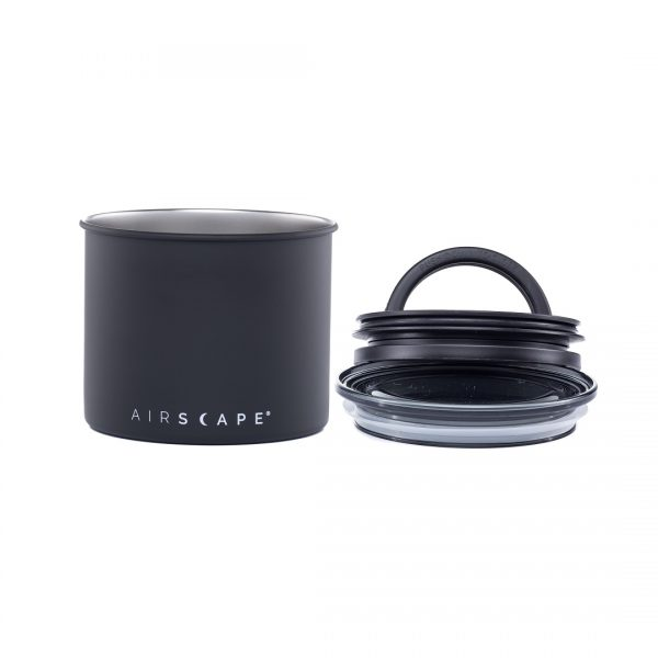 """Planetary Design AirScape Stainless Steel 32oz Coffee Canister 4"""" - Matte Charcoal Black AS1704"""