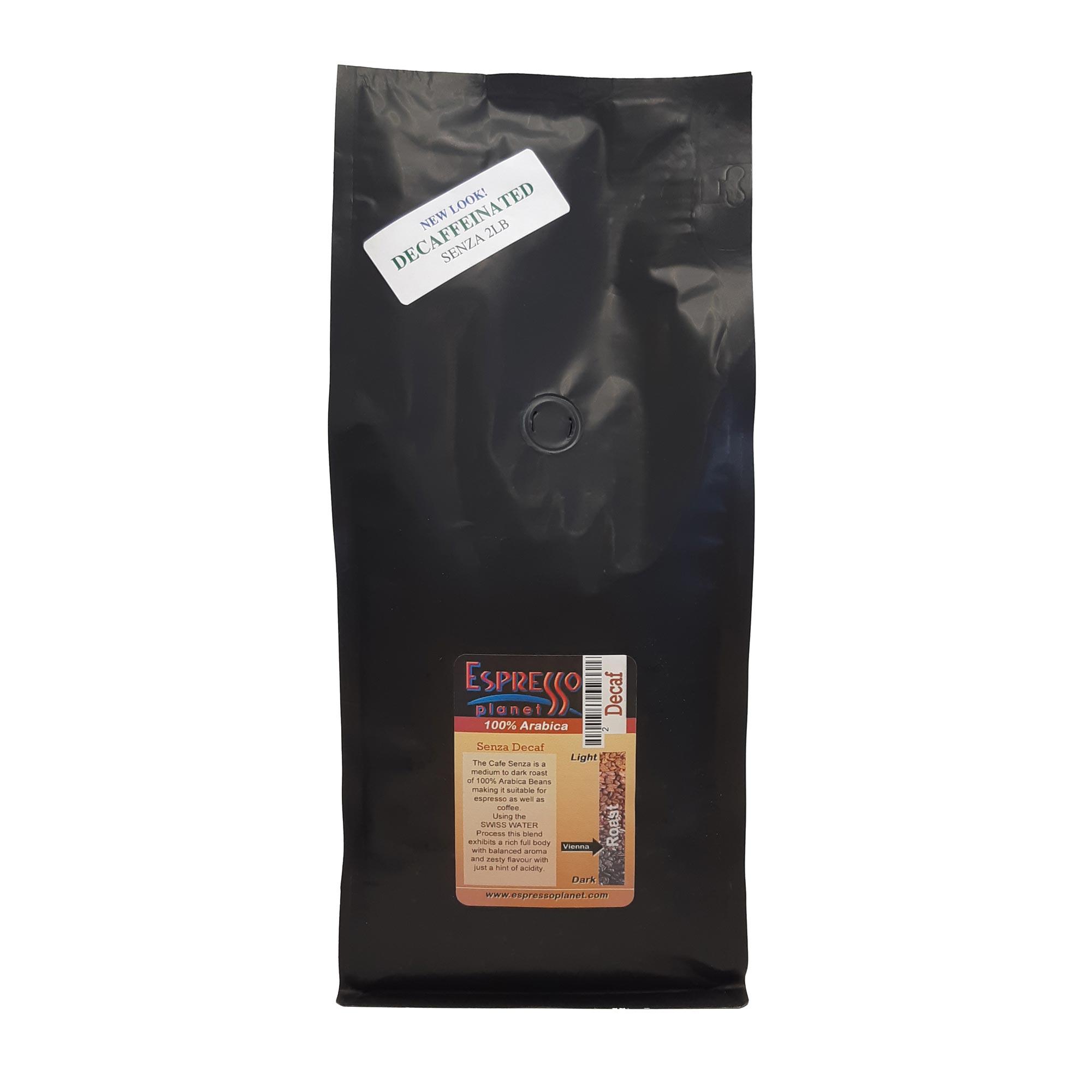 Espresso Planet Decaf Blend - Cafe Senza Decaffeinated Beans 2 lb Bag
