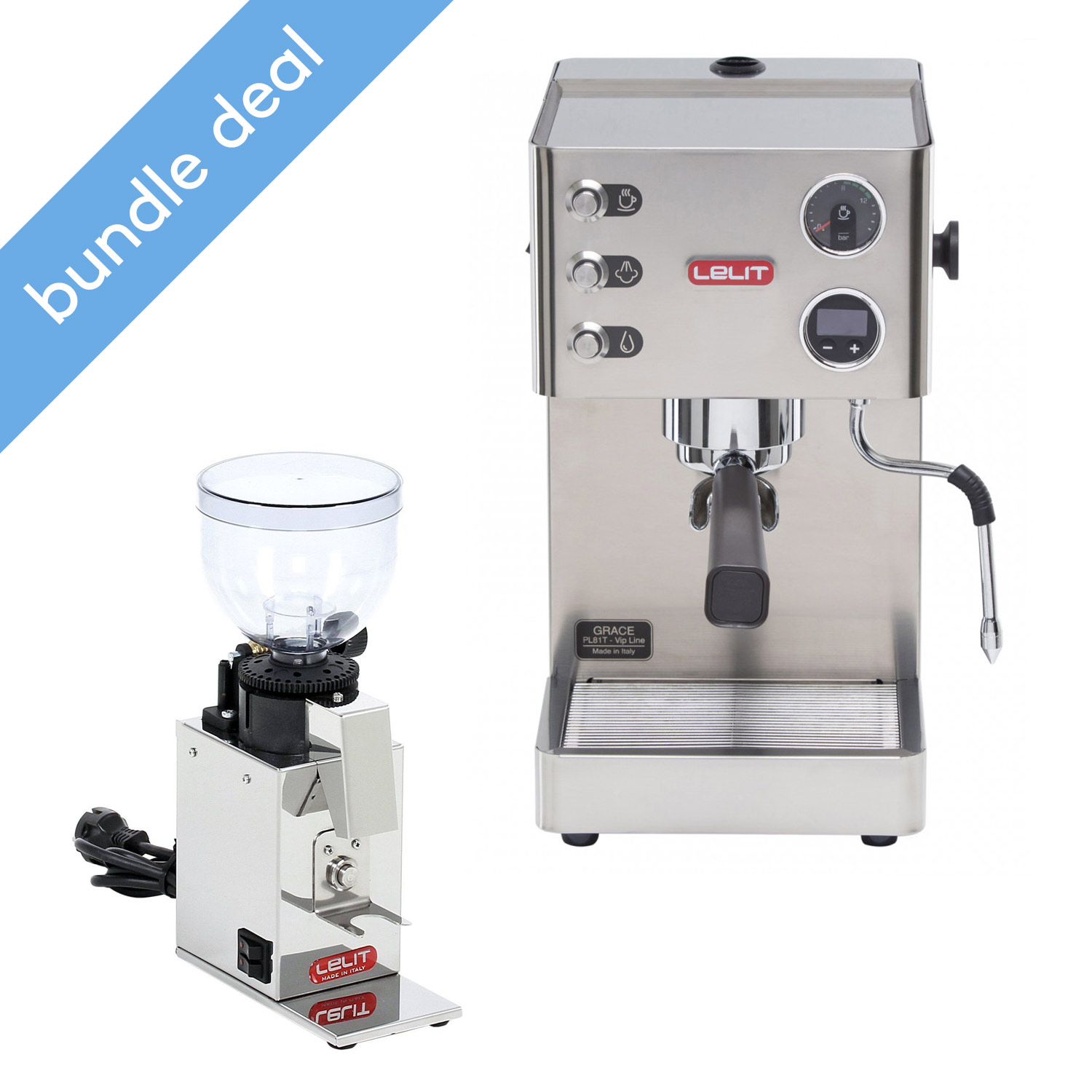 Lelit Grace Semi Automatic Espresso Machine and Fred Grinder Bundle - PL81T + PL043MMI
