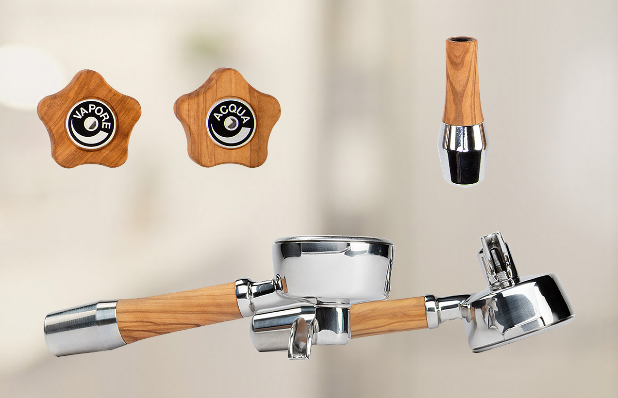 ECM Olive Wood Handle Set with ECM Logo - 89488