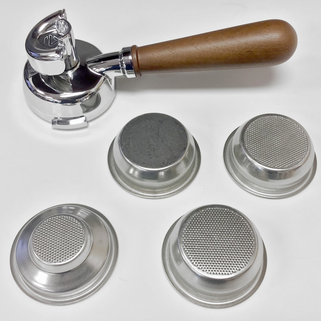Lelit Walnut Handle 58mm Double Spout Portafilter Kit with 4 Baskets - LEPLA582W