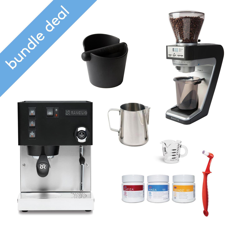Rancilio Silvia M Black Espresso Machine and Rocky Doserless Black Grinder Bundle