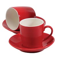 BIA Red Espresso Cups Set of 6