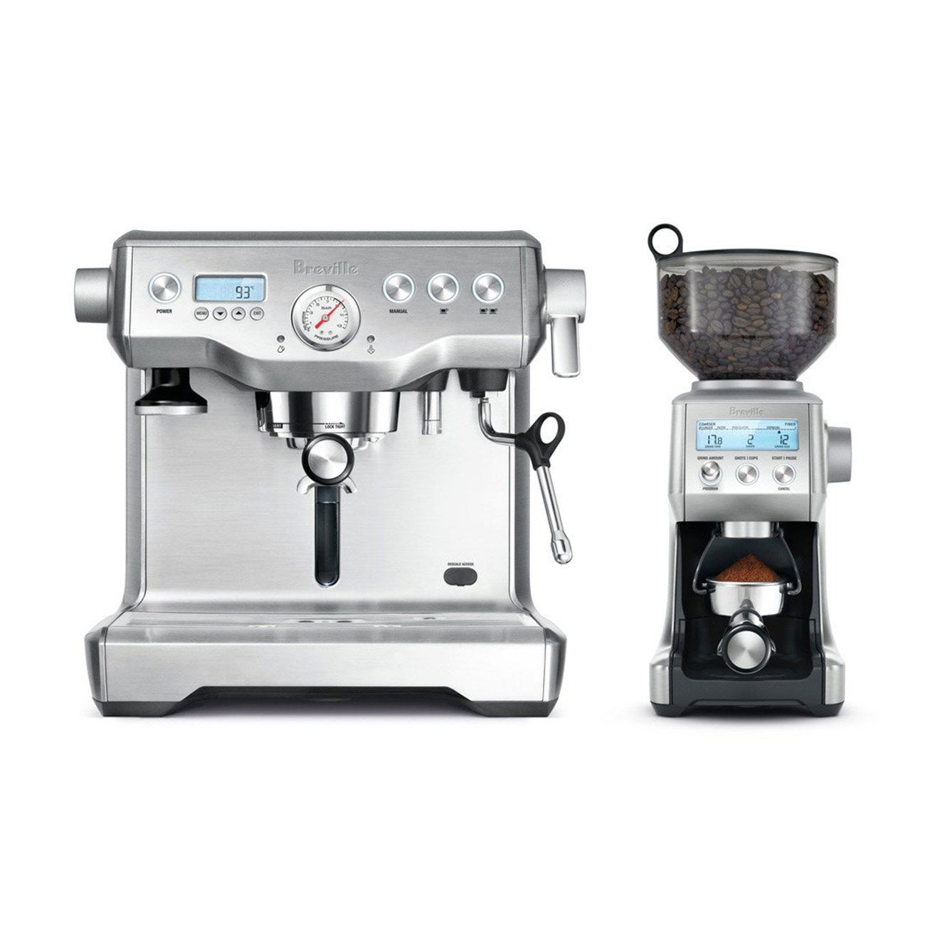 Breville Dynamic Duo - Dual Boiler Semi Automatic Espresso Machine and Smart Grinder Pro - BEP920BSS