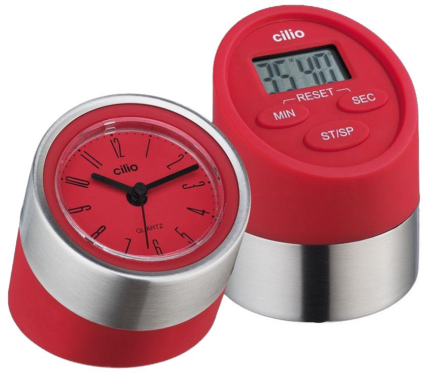 Cilio Kitchen Digital Timer with Clock Red