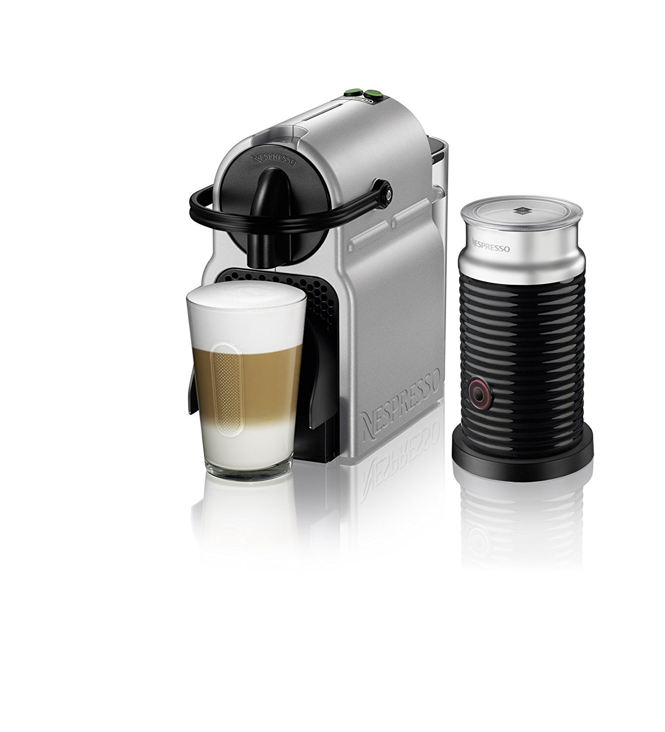 delonghi nespresso inissia silver single serve espresso machine with aeroccino 3 en80saeca - Delonghi Espresso Machine