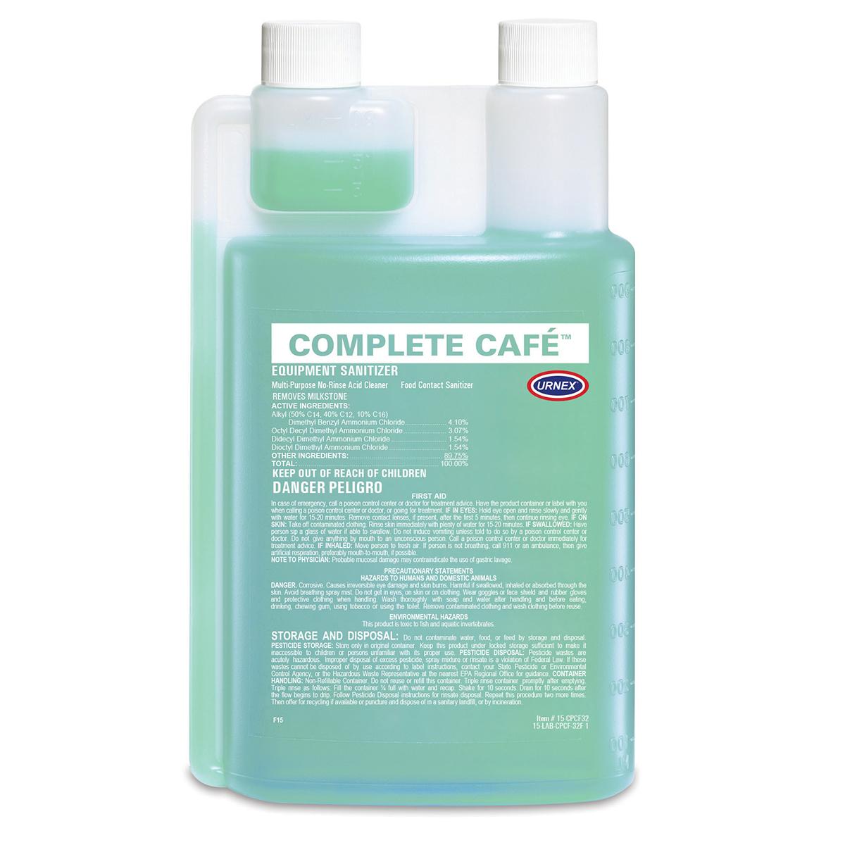 Urnex Complete Cafe Equipment Sanitizer -  1L / 32oz bottle