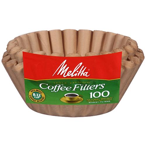 Melitta Basket Filters Natural Brown 8-12 Cup 100 Pack