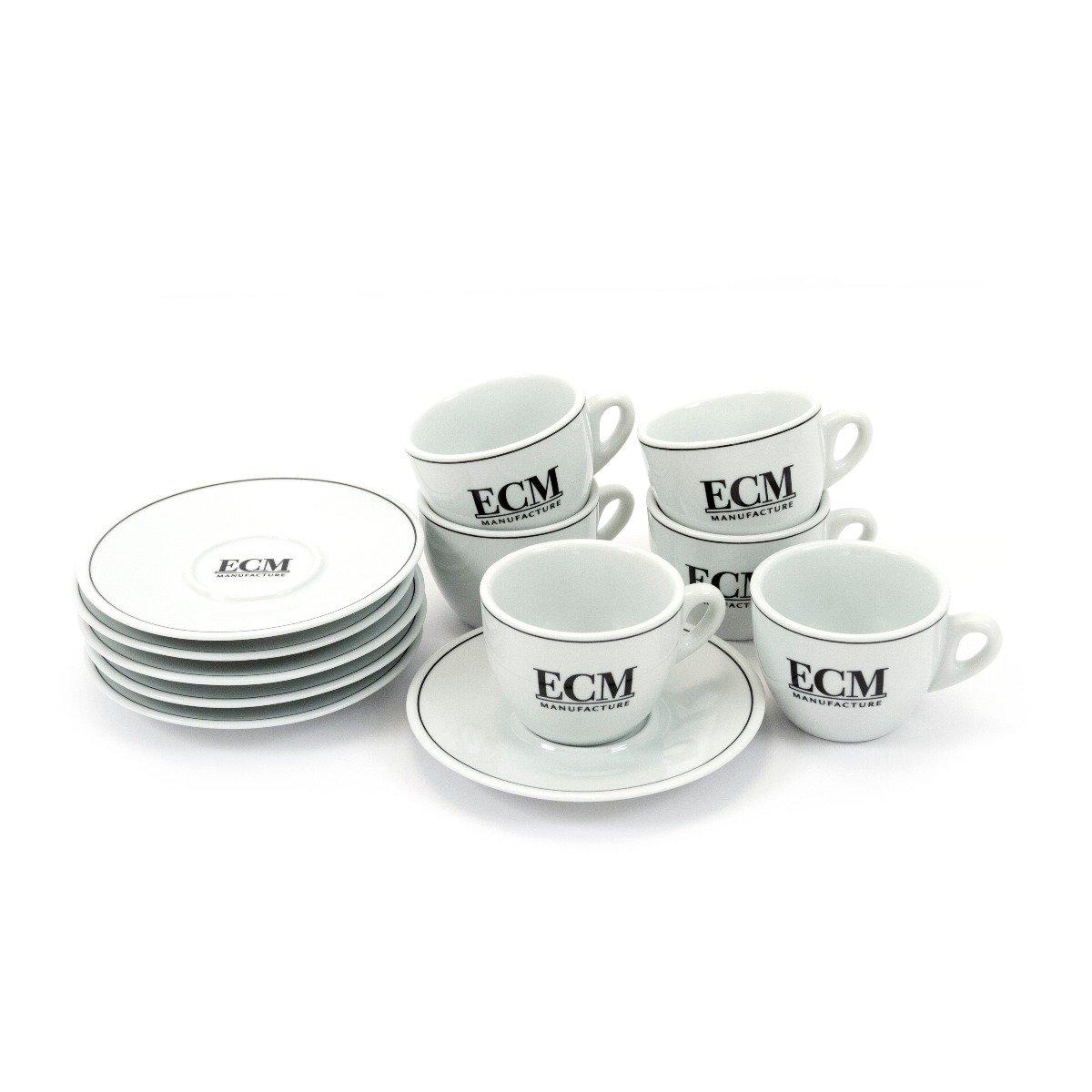 ECM Ceramic Espresso Cups with Saucers Set of 6 #09505