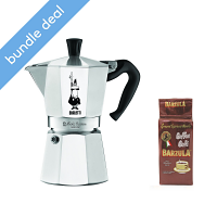 Bialetti Moka Express 6 Cup Stovetop Espresso Maker and Barzula Moulu Coffee Bundle