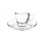 Cuisivin Caffe Espresso 2.5oz Glass Cups and Saucers Set of 2